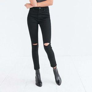 BDG Black High Rise Twig Ripped Knee Skinny Jeans